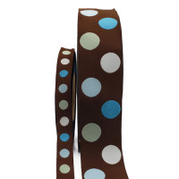 "5-305  Col. 1 Brown, Blue, Lt. Green, White Jacquard dots  1/2"",1 1/2"""