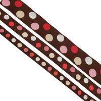 "5-305  Col. 2 Brown, Pink, White  dots Jacquard   1/2"", 7/8"",1 1/2"""
