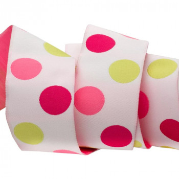 "5-305  Col. 4 Renaissance Magenta, pink, green dots on white Jacquard 1 1/2"""
