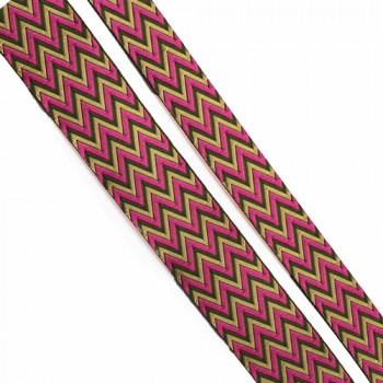 "5-83- Col 5  , Fuchsia and Moss Green Jacquard  1"", 1 1/2"""