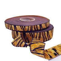"JM-71 - Col. 1 Tiger Print Jacquard Ribbon, 2 Sizes - 5/8"", 1-1/2"", Sold by the Yard"