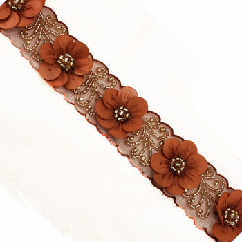 """57438 Col.39 Rush  luxury Floral beaded 3D 1-1/2"""" on sash"""