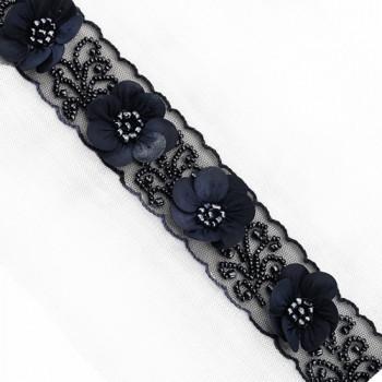 "57438 Col. 4 - Dark Smoke, Luxury Floral Beaded Ribbon, 1-1/2"" on sash"