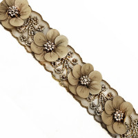 "57438 Col. 5 Tan luxury Floral beaded 3D 1-1/2"" on sash"