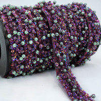 "57468  Purple Beaded Ribbon,  3/4"" - Sold by the Yard"