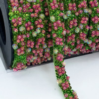 "57469  Green and Pink Beaded Ribbon, 3/8"" - Sold by the Yard"