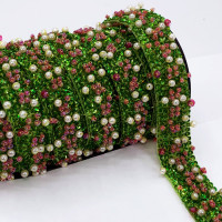 "57470 Green and Pink Beaded Ribbon, 3/4"" - Sold by the Yard"