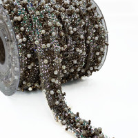 """57472 Taupe Beaded Ribbon, 3/4"""" - Sold by the yard"""