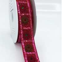 "57475 Fuchsia Beaded Ribbon, 1-1/4"" - Sold by the Yard"