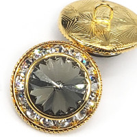 7104B - Gold and Swarovski Black Diamond Rhinestone Button, 7/8""