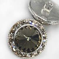 7104B - Silver and Swarovski Black Diamond Rhinestone Button, 7/8""