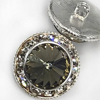 "7104B - Silver and Swarovski Black Diamond Rhinestone Button, 7/8"""