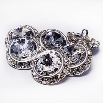 """7106 - Silver and Crystal Rhinestone Button, 5/8"""" & 7/8""""Set 6 Pieces."""