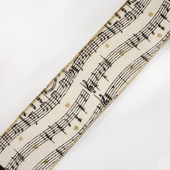"""7118 Musical Notes  Gold Metallic Wired Ribbon 2-1/2 """" Sold by The Yard."""