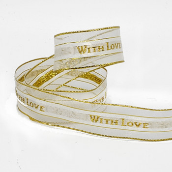 """7119 With Love Gold Metallic Wired Ribbon 2 sizes: 1, 3/8"""" Sold by The Yard."""