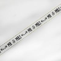 "7120  Mr & Mrs Wedding Grosgrain Ribbon, 5/8"" Sold by The Yard."