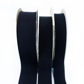 8000 Col.  Black Petersham Grosgrain Ribbon, 10 Sizes - Sold by the Yard
