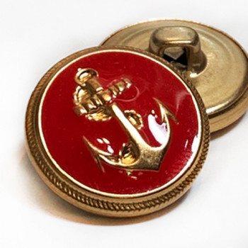 "80043 - Gold Anchor Blazer Button with Red Epoxy, 3/4"" Only"