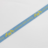 "9125  ""Welcome Little Darling"" Blue and Yellow Jacquard Ribbon, 5/8"" Sold By The Yard."