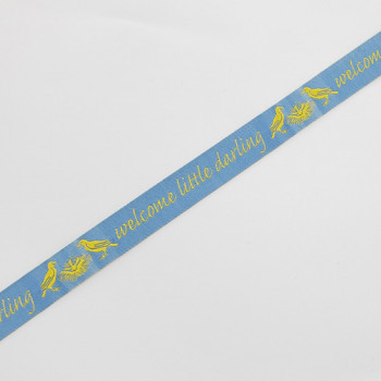 """9125  """"Welcome Little Darling"""" Blue and Yellow Jacquard Ribbon, 5/8"""" Sold By The Yard."""
