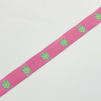 "9126  Turtle Pattern Pink and Green Jacquard Ribbons 7/8"" Sold By The Yard."
