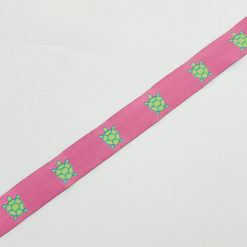 """9126  Turtle Pattern Pink and Green Jacquard Ribbons 7/8"""" Sold By The Yard."""