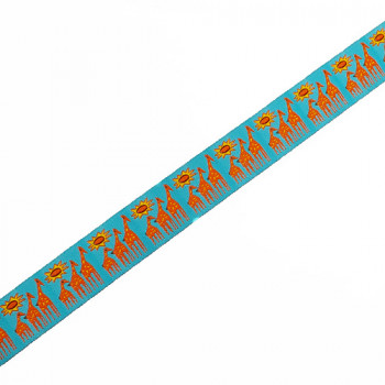 """9127  Children's Giraffe Pattern Jacquard Ribbon in Teal Blue and Orange,  7/8"""" - Sold by the Yard"""