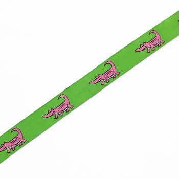 """9128  Children's Pink Alligator Pattern Jacquard Ribbon Pink and Green  7/8"""" - Sold by the Yard"""