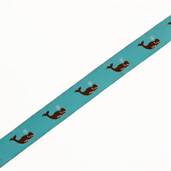 "9129  Whale Pattern Blue and Brown Children's Ribbon Jacquard Ribbons 7/8"" Sold By The Yard."