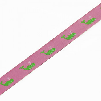 """9130 Whale Pattern Pink and Green Children's Ribbon Jacquard Ribbons 7/8""""  Sold Per Yard"""
