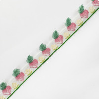 """9141R  Children's Carrots Jacquard Ribbon Pink and Green 1/2""""  2 Yards"""