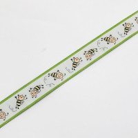 "9146-4  Busy Bee Pink  Jacquard Ribbons 1"" Sold Per Yard"