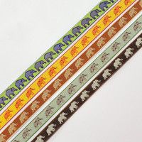 "9180  Children's Elephant  Pattern Jacquard Ribbon 3/8"" - Sold by the Yard"