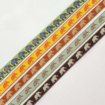"9180  Children's Elephant  Pattern Jacquard Ribbon 3/8"" - Sold by the Yard"