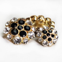 9180PS - Petite Crystal & Black  Rhinestone Button 3 Sizes