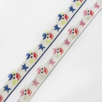 "9181R Children's Circus Clown Jacquard Ribbon in 2 Color,  1/2"" - Sold by the Yard"