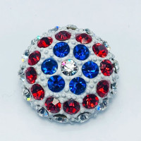 9182TA -Red White And Blue Enameled Base Button