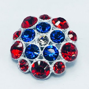 9183TA -Red White And Blue Enameled Base Button