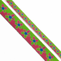 "9242 Col. 1- Green and, Fuchsia, Blue Jacquard  1"" , 1 1/8"""