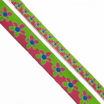 "9242 Col. 1-  Renaissance Ribbon, Green and, Fuchsia, Blue Jacquard  1"" , 1 1/8"""