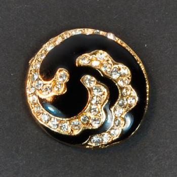9515 Gold and Black Epoxy Rhinestone Button