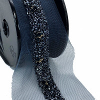 "ACC 57455 Color 4 - Black Smoke Beaded Ribbon, 3/4"" - Sold by the Yard"