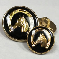 300125 Gold with Black Epoxy Equestrian Button - 2 Sizes