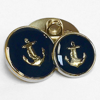 330054 Gold with Dark Navy Epoxy Anchor Button - 2 Sizes