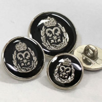 340343 Silver with Black Epoxy Blazer Button - 3 Sizes