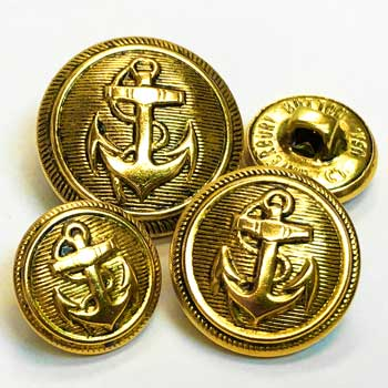 80047 Antique Gold Anchor Button, 3 sizes