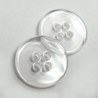BC-02-D  Clear 4-Hole Placket Button, Priced by the Dozen
