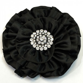 BW-700 - Large, Black Satin and Crystal Rhinestone Brooch