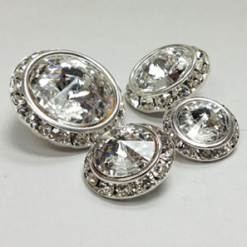 C-0724  Crystal Rhinestone Button - 5 Sizes