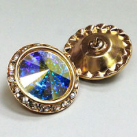 C-0725  AB Crystal Rhinestone Button, 3 Sizes